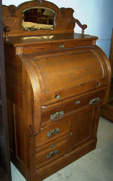 Solid Oak Cylinder Roll Top Desk For Sale Antiques Com Antique Desk For Sale