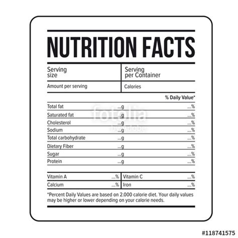 quot nutrition facts label template vector quot stock image and