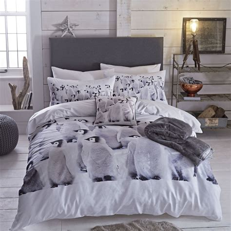 Single Bed Comforter Set Penguin Single King Duvet Quilt Cover Cotton Rich Bed Set Photo Print Ebay