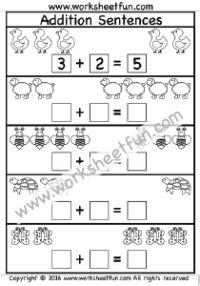 addition sentences 2 worksheets printable worksheets