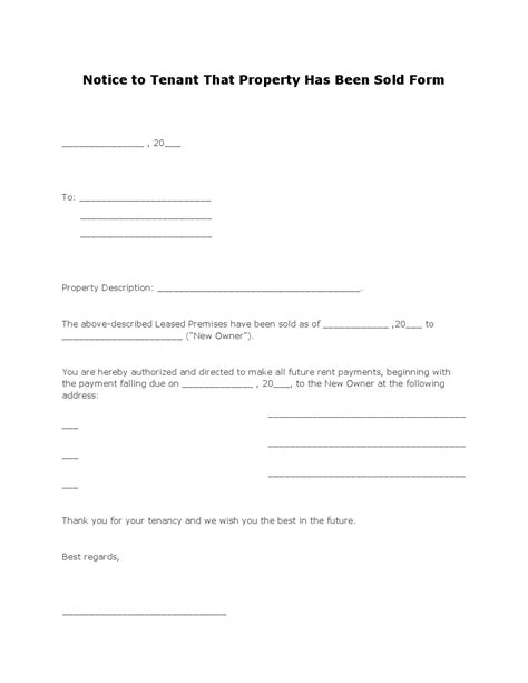 Rent Increase Letter To Tenant Florida Free Notice To Tenant That Property Has Been Sold Form Pdf Template Form
