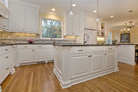 Blue Pearl Granite White Cabinets by Classic White Perfectly Balanced By Creams And Blues