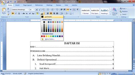 cara membuat format daftar isi otomatis daftar isi otomatis office word blogger pemula