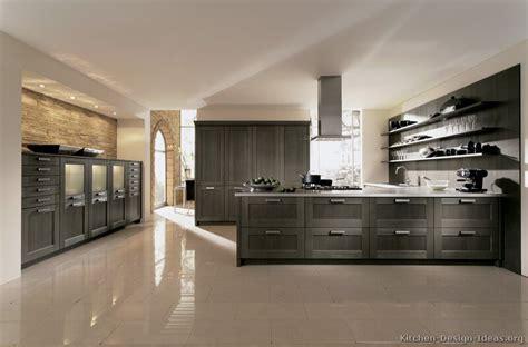 Superb Modern Gray Kitchen Cabinets #2: Kitchen-cabinets-modern-gray-006-A144a-painted-wood-peninsula-steel-hood-luxury.jpg
