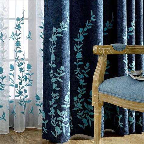 navy linen curtains pastoral style navy blue linen embroidery country curtains