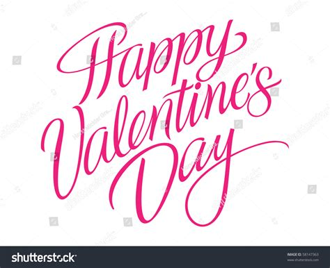 happy valentines day lettering happy valentines day vector lettering stock vector