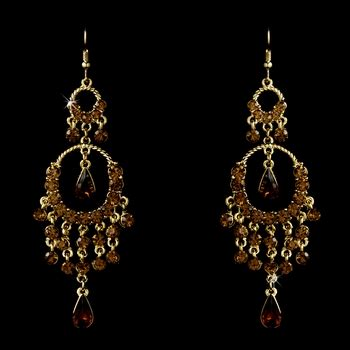 Brown Chandelier Earrings Gold Brown Chandelier Earrings 801