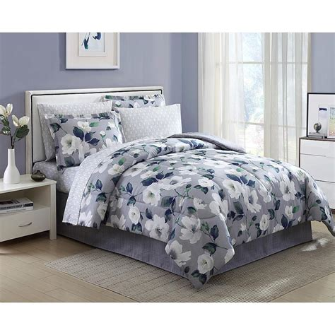 8 pieces complete comforter set bed in a bag flowers