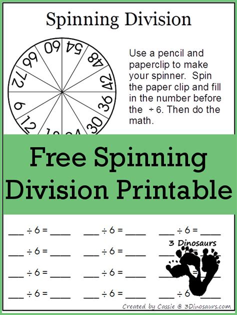 printable games for division free division spinning game printables free homeschool