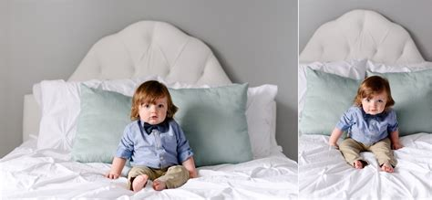 1 year old bed one year old sitting on bed crystal satriano photography
