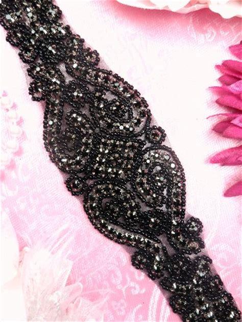black beaded sash black rhinestone bridal sash applique black beaded