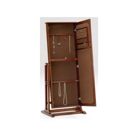 jewelry armoire cherry finish bernards jewelry armoire and mirror in cherry finish 7003