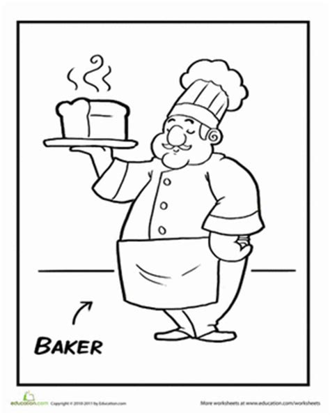 Baker Coloring Pages Preschool | baker coloring pages