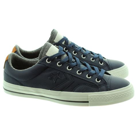 converse mens player leather shoes in navy in navy