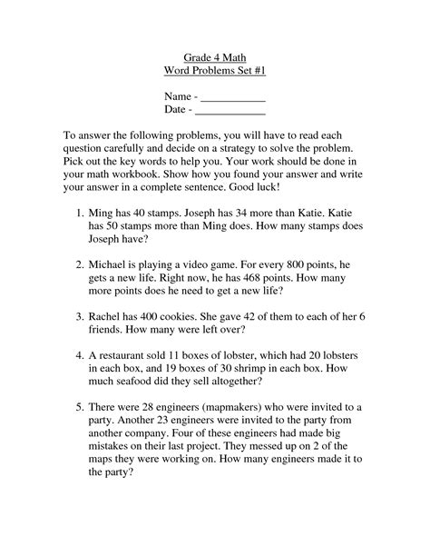 15 best images of 4th grade math word problems worksheets