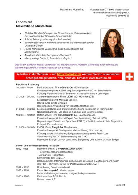 Lebenslauf Muster Fur Schweiz Talentoo Ch Muster Lebenslauf Cv Bewerbung