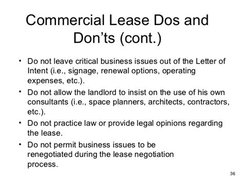 Sle Letter For Lease Negotiation Commercial Lease Analysis