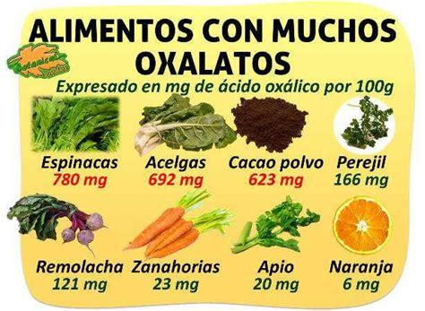 alimentos que contengan mucho calcio contenido en oxalatos de los alimentos acido oxalico