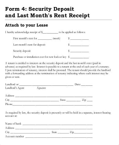 printable rent deposit receipt rental deposit receipt security deposit receipt form