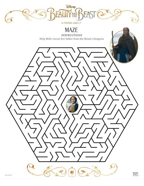 printable mazes disney disney beauty and the beast maze printable coloring