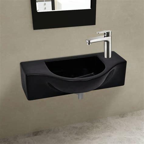 bagno in ceramica lavandino bagno in ceramica nera con piletta di scarico