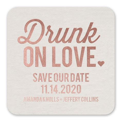 Save The Date by On Foil Save The Date Coaster Invitations By