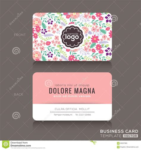 adss business card template floral frame doodle flowers pattern in vector