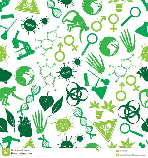 patterns in nature biology topic test color biology icons seamless pattern stock vector image