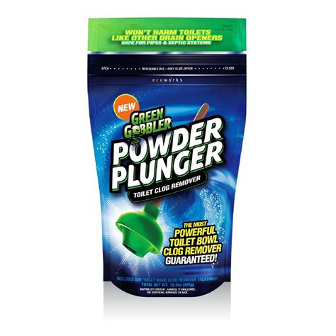 bathroom clog remover green gobbler 16 5 oz powder plunger toilet clog remover