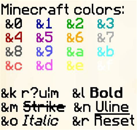 color codes colored chat for your server minecraft