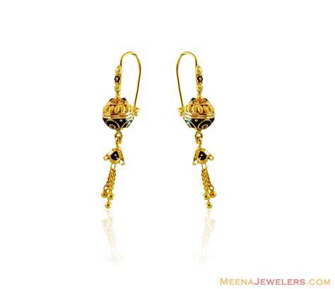 22k gold earrings designs 22k fancy meenakari balls earring erfc14730 22k gold