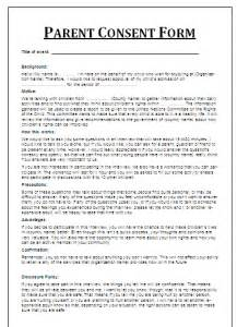 printable parent consent form free word s templates