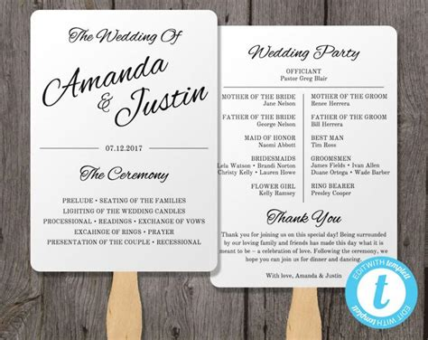 wedding program fan template printable wedding program fan template fan wedding