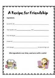 recipe for friendship template teaching worksheets recipes