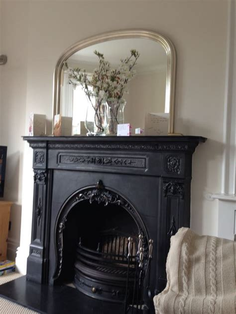 Beautiful Iron Fireplace With Over Mantle Mirror Above Mirror Above Fireplace