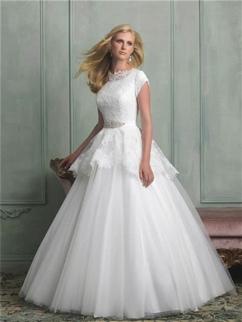 modest lace wedding dresses with sleeves modest a line high neck cap sleeve lace tulle peplum