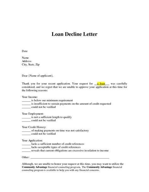 Decline Order Letter Loan Agreement Sle Letter Sponsorship Sles