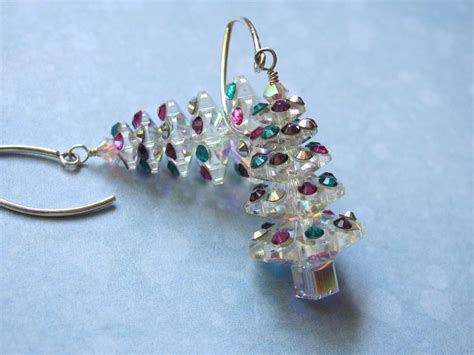 christmas tree earrings holiday earrings dangle earrings