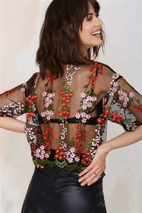 Flower Embroidered Sheer Top 1 gal glamorous flower powers embroidered top in