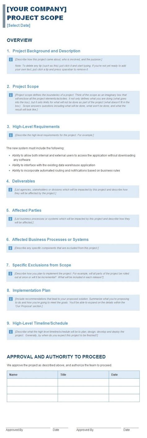 scoping report template project scope report template sle i do business