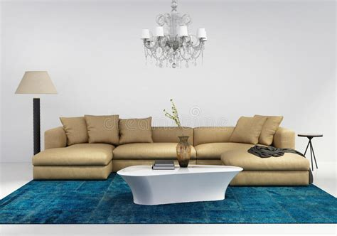 contemporary stylish living room with blue rug stock photo