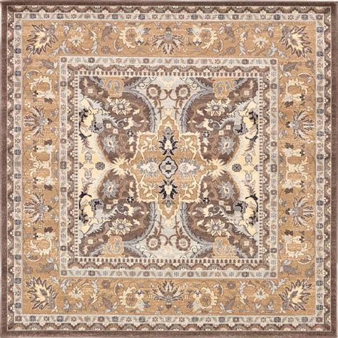rug 4 x 8 unique loom tradition brown 8 ft 4 in x 8 ft 4 in square area rug 3126060 the home depot