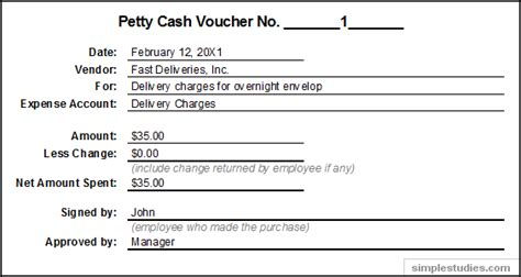 accounting and procedures for petty cash accounting