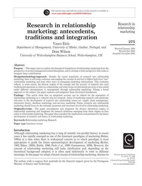 relationship traditions pdf research in relationship marketing antecedents