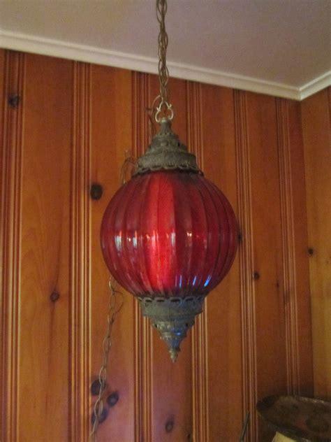 vintage hanging swag ls vintage 60s 70s modern red glass hanging swag light l
