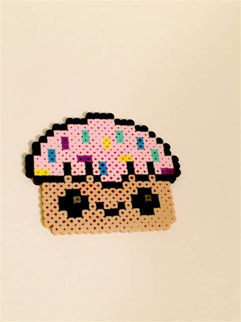perler bead cupcake kawaii cupcake perler bead by craftasticpriscilla on etsy