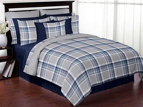 navy blue and grey bedding plaid navy blue and gray comforter set 3 piece full