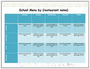 Html Menu Template by Weekly School Menu Template Format Template