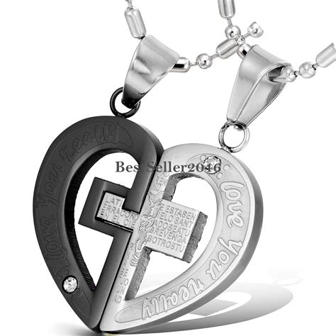 his hers stainless steel cross pendant quot