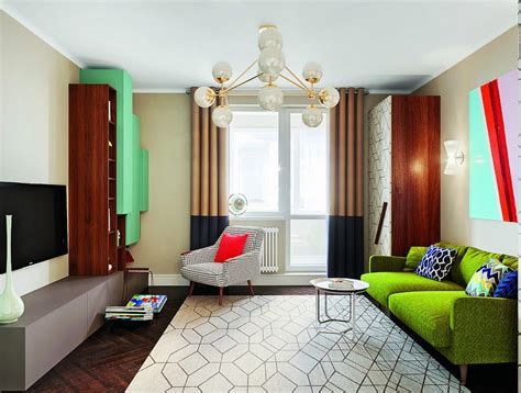 home interior design com bright multicolor apartment in mid century modern style